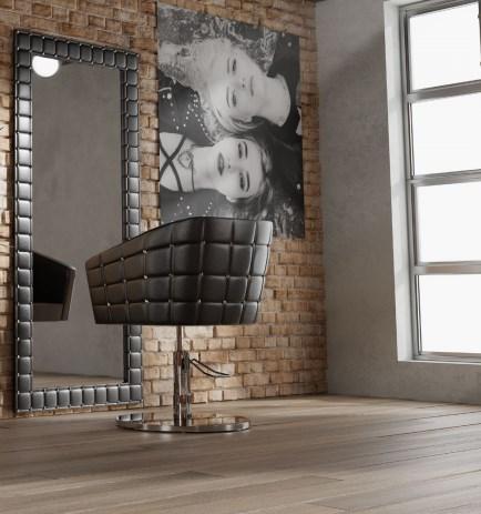 Modne meble fryzjerskie w stylu rockowym fotel fryzjerski glamour rock