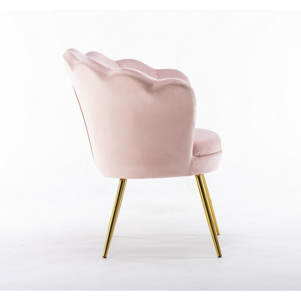 wygodny fotel welurowy pudrowy roz