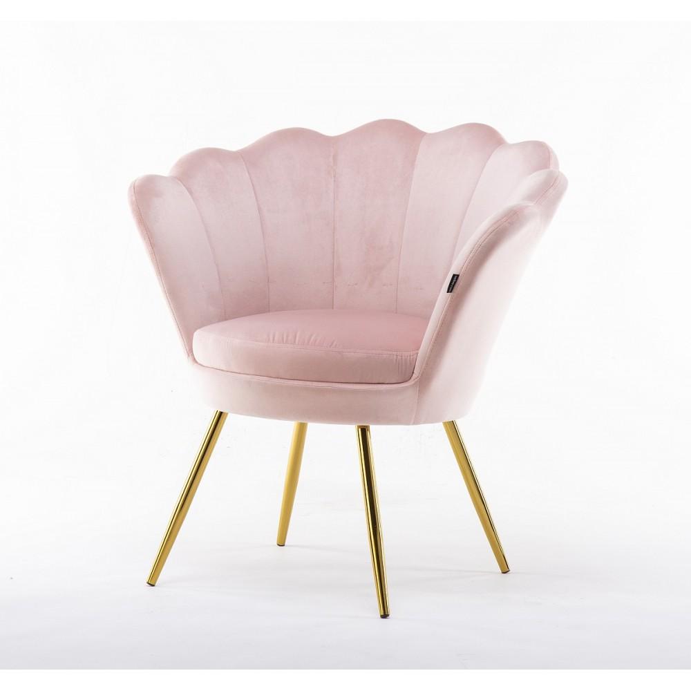 fotele muszelka różowe welur