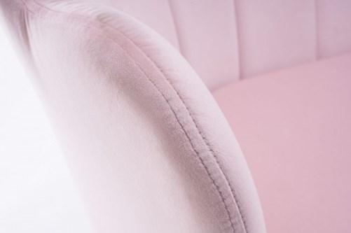 sofy tapicerowane welurowe różowe muszelka poczekalnia salon