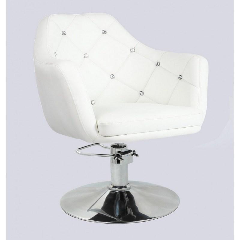 biały pikowany fotel fryzjerski na pompie hydraulicznej