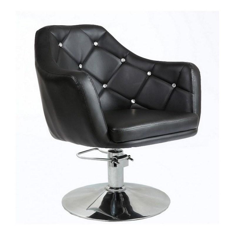 czarny pikowany fotel fryzjerski na pompie hydraulicznej