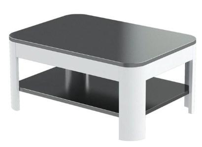 Czarny lakierowany stolik. Czarno biały stolik do poczekalni.