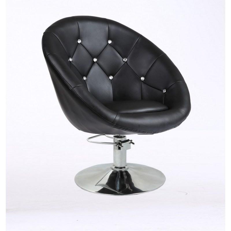 czarny fotel fryzjerski pikowany na pompie hydraulicznej