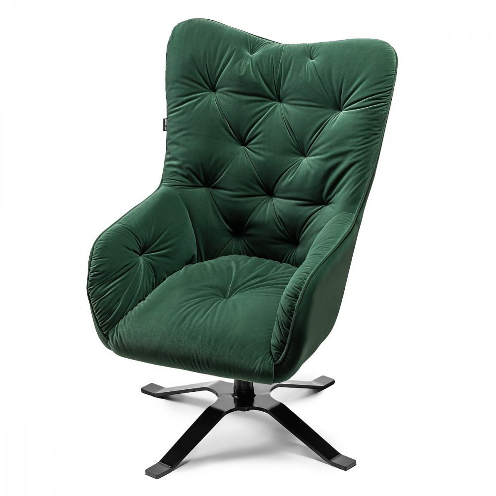 LAREN fotel welurowy do salonu. Zielony fotel welur - styl skandynawski.