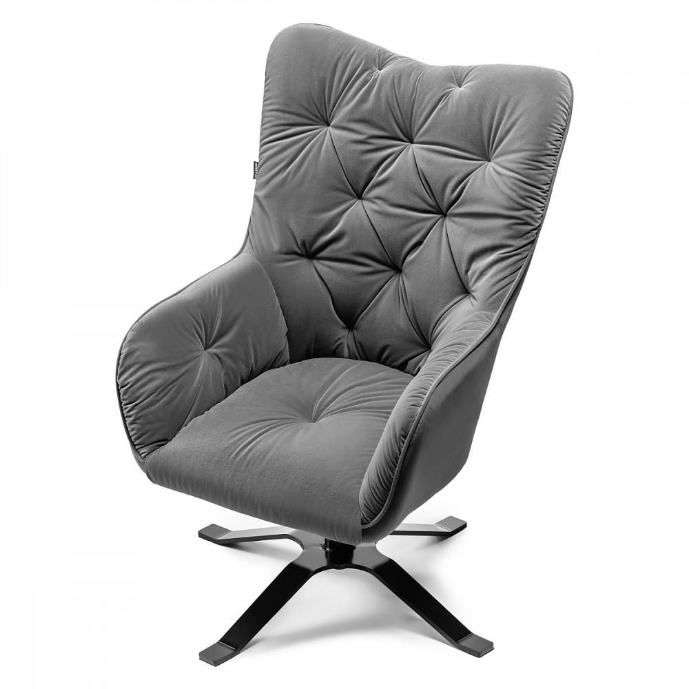 LAREN fotel szary welur do salonu. Skandynawski szary fotel tapicerowany welurem. Fotele Laren to pikowane welurowe fotele w stylu Uszak. Fotel szary welurowy (grafitowy) ozdobi każdy salon.