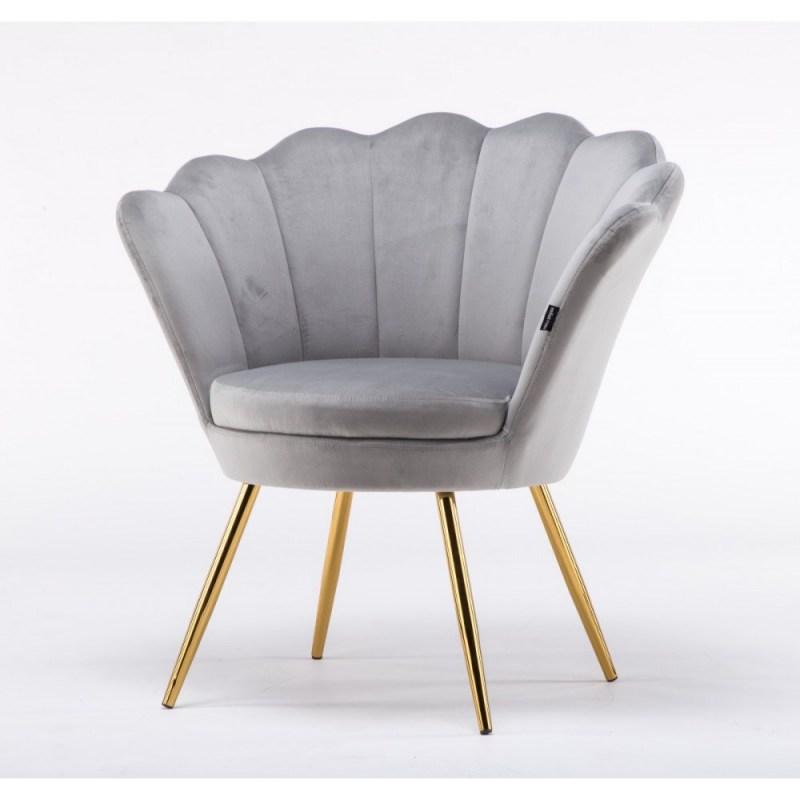 szare fotele do poczekalni tapicerowane welurowe