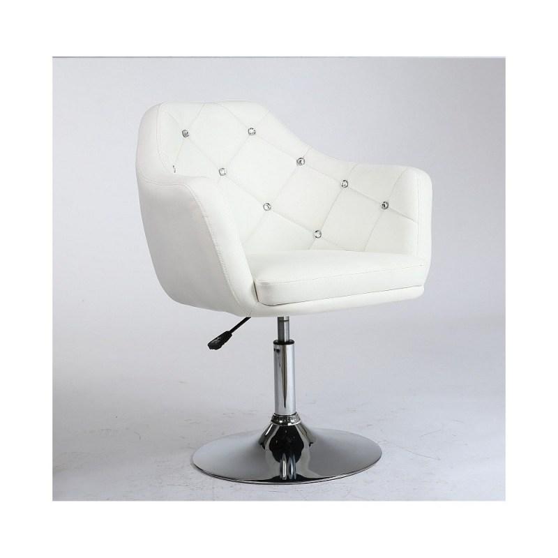 biały fotel fryzjerski eko-skóra, warto mieć w salonie białe fotele fryzjerskie