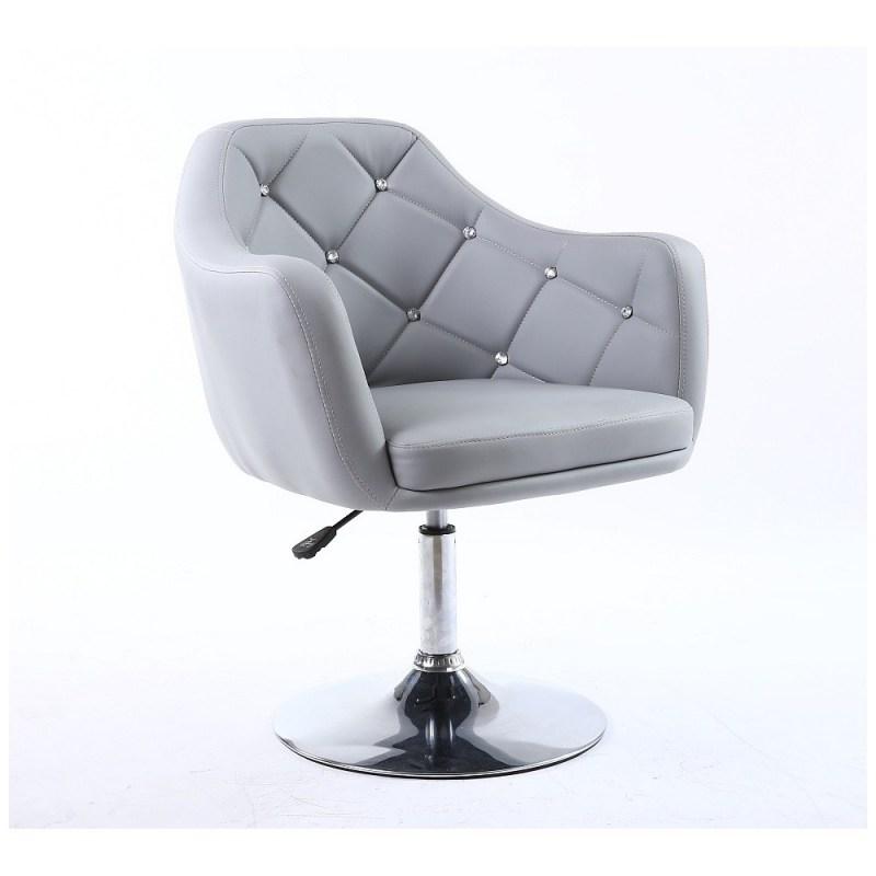 popularne krzesła kosmetyczne szare w stylu glamour.