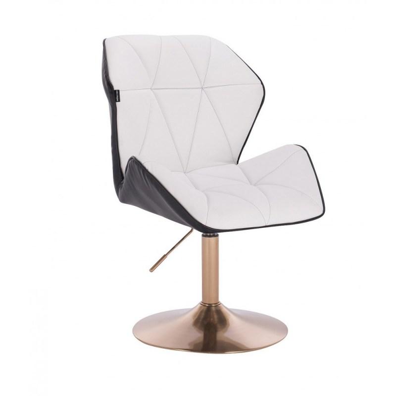 biało czarne krzesło kosmetyczne pikowane