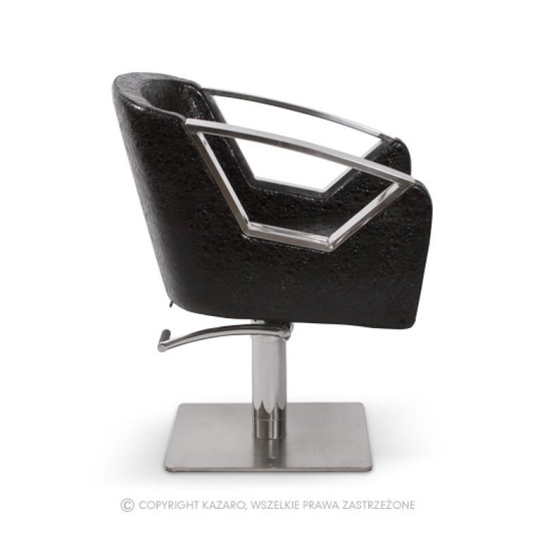 czarne fotele fryzjerskie geometryczne