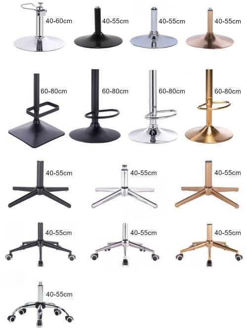 Podstawy krzeseł kosmetycznych. Jaką podstawę wybrać do fotelu fryzjerskiego? Sprawdź przegląd podstaw dostępnych dla krzeseł, foteli i hokerów VotEver.