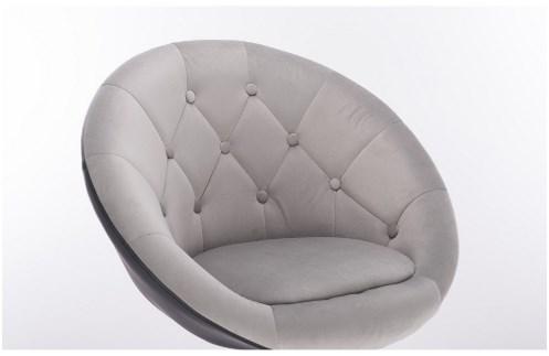szara welurowa tapicerka fotel kosmetyczny